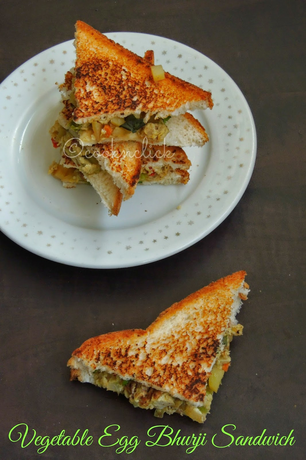 Vegetable scrambled egg sandwich, Vegetable egg bhurji sandwich