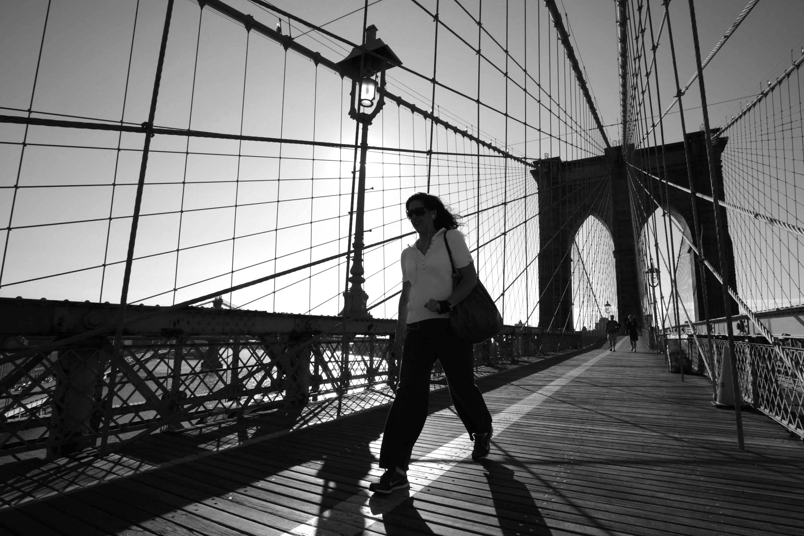New york city bridge black and white photography