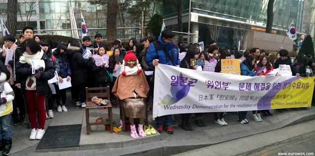 Manifesatción por las comfort women enfrente a la embajada japonesa en Corea del Sur