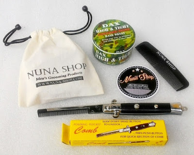 Paket Hemat Pomade DAX High & Tight Awesome Shine + Switchblade Comb (SB) + Pouch + Stiker + Sisir Saku