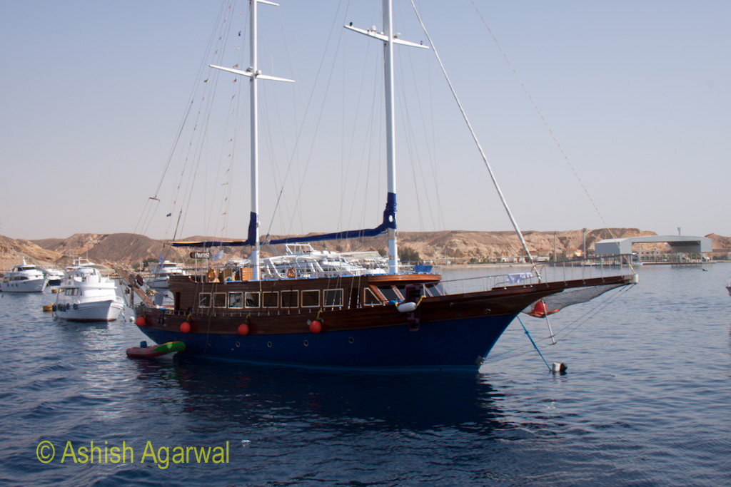Classic looking boat in the waters of the Red Sea off Sharm el Sheikh in Egypt