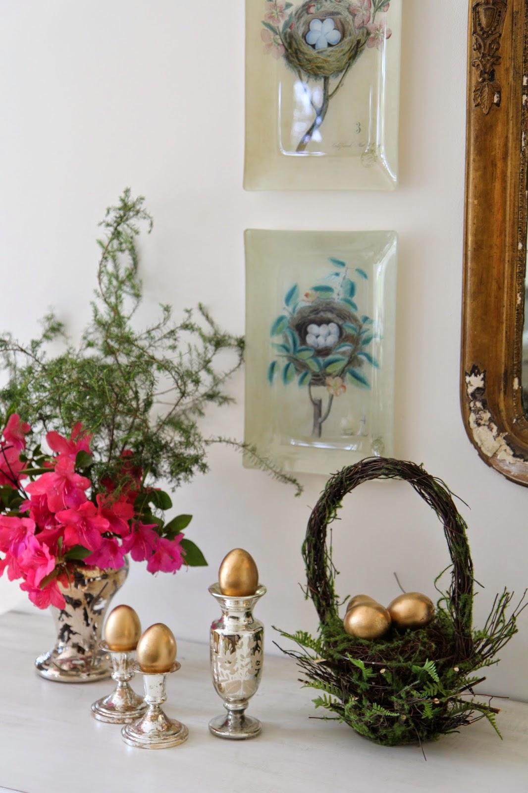 Golden Eggs; Easter Buffet Table Decor - Nora's Nest