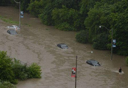 Photos of People during Toronto flooding