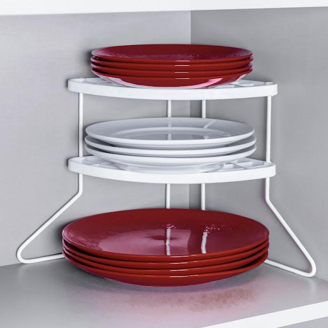 Suporte para organizar pratos para canto de armário