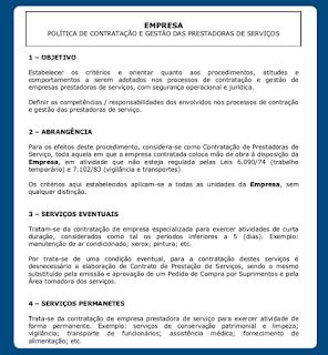 Documento exemplifica uma política de gestão de fornecedores
