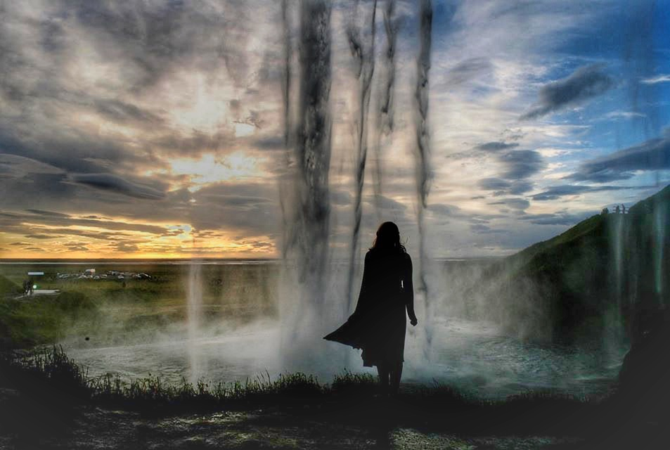 Sunset from behind Seljalandsfoss on the South Coast of Iceland