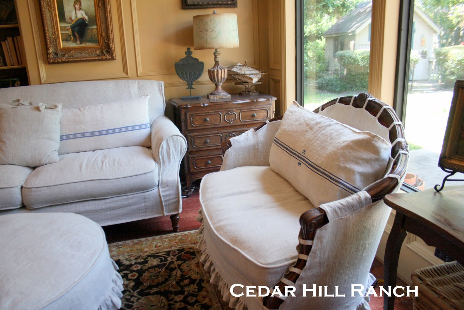 french linen slipcovers cedar hill farmhouse i had covered a settee just like the ones in my living room here i didn t want the slipcover to gape open since these settees would be used more than the