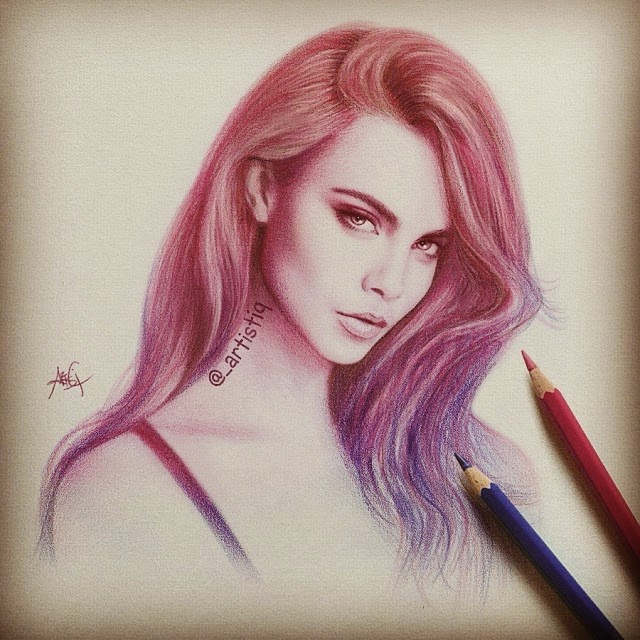 08-Cara-Delevingne-Cas-_artistiq-Colored-Celebrity-and-Cartoon-Drawings-www-designstack-co