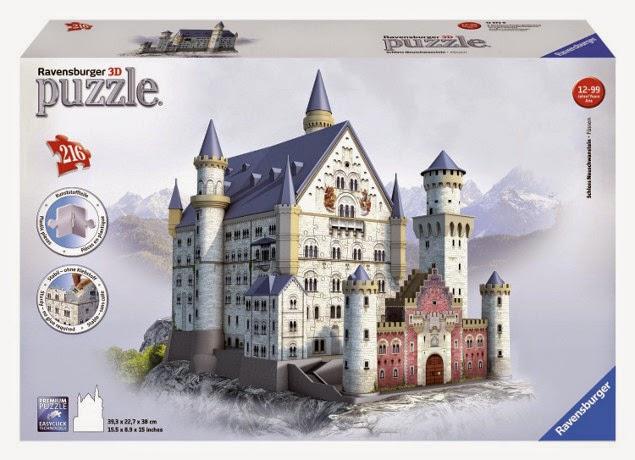 JUGUETES - PUZZLE 3D - Castillo de Neuschwanstein  Producto Oficial   Ravensburger 12573   A partir de 12 años  Piezas: 216   Tamano: 39,3 x 22,7 x 38 cm