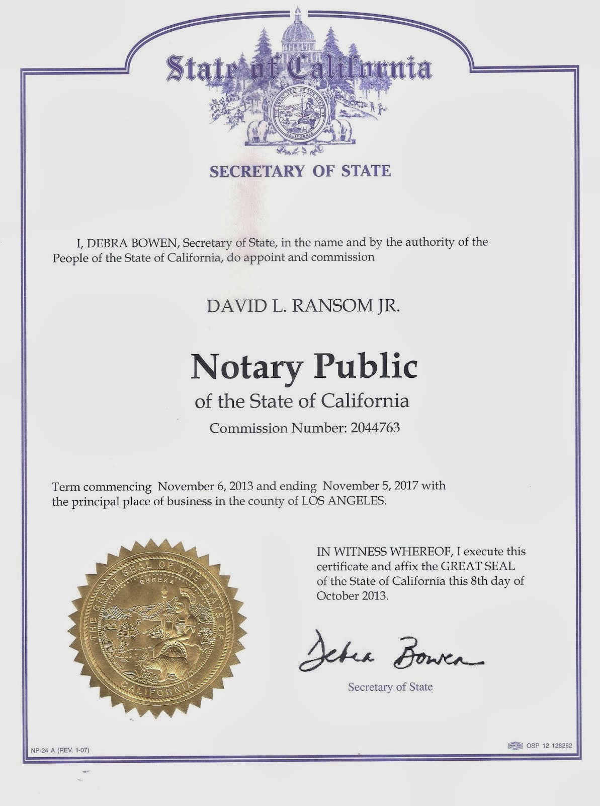 Notary Commission Certificate of David L. Ransom Jr., Notary Public