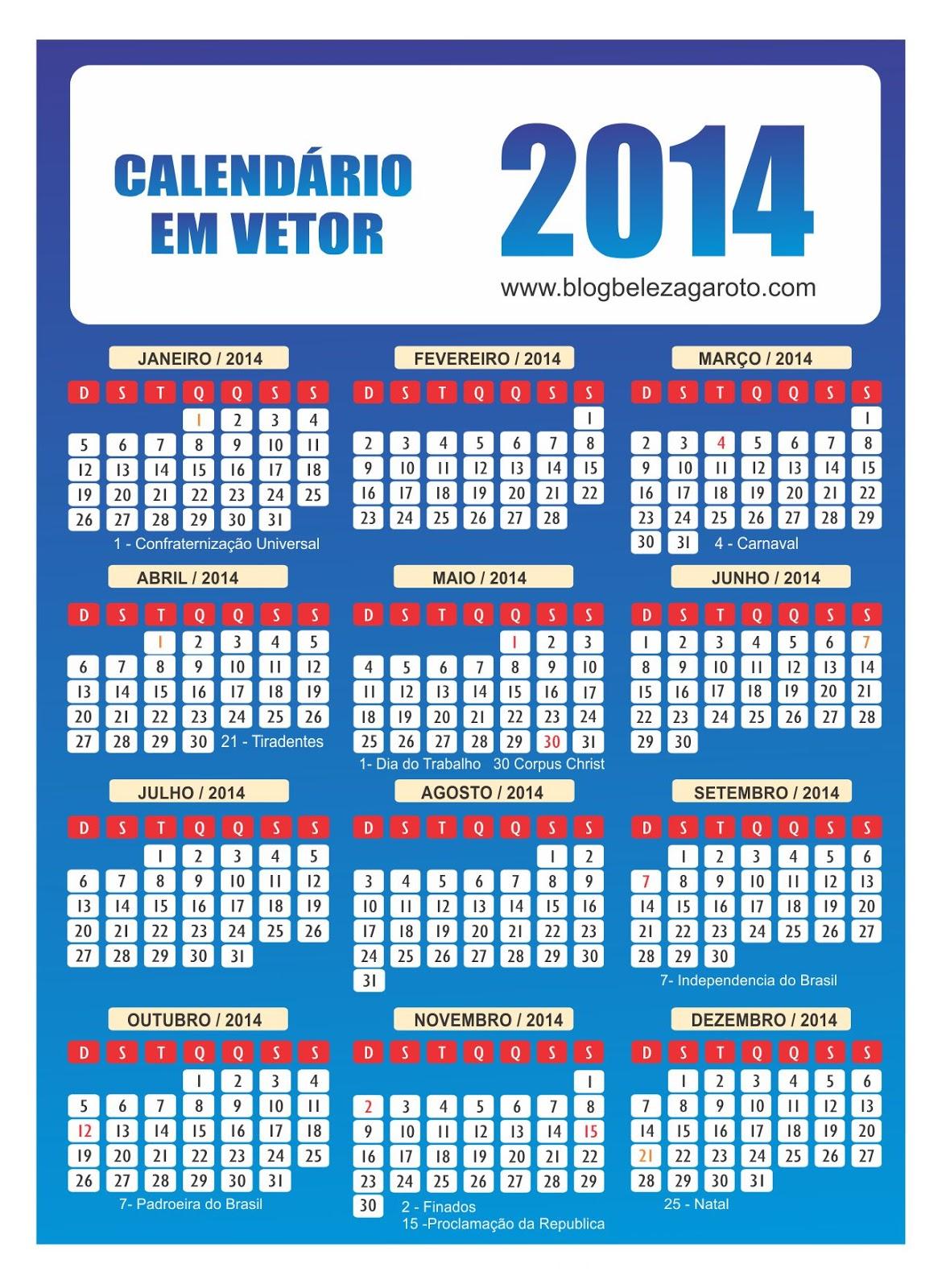 Calendário 2014 Vetor Vector Vetorizado Corel Edítável