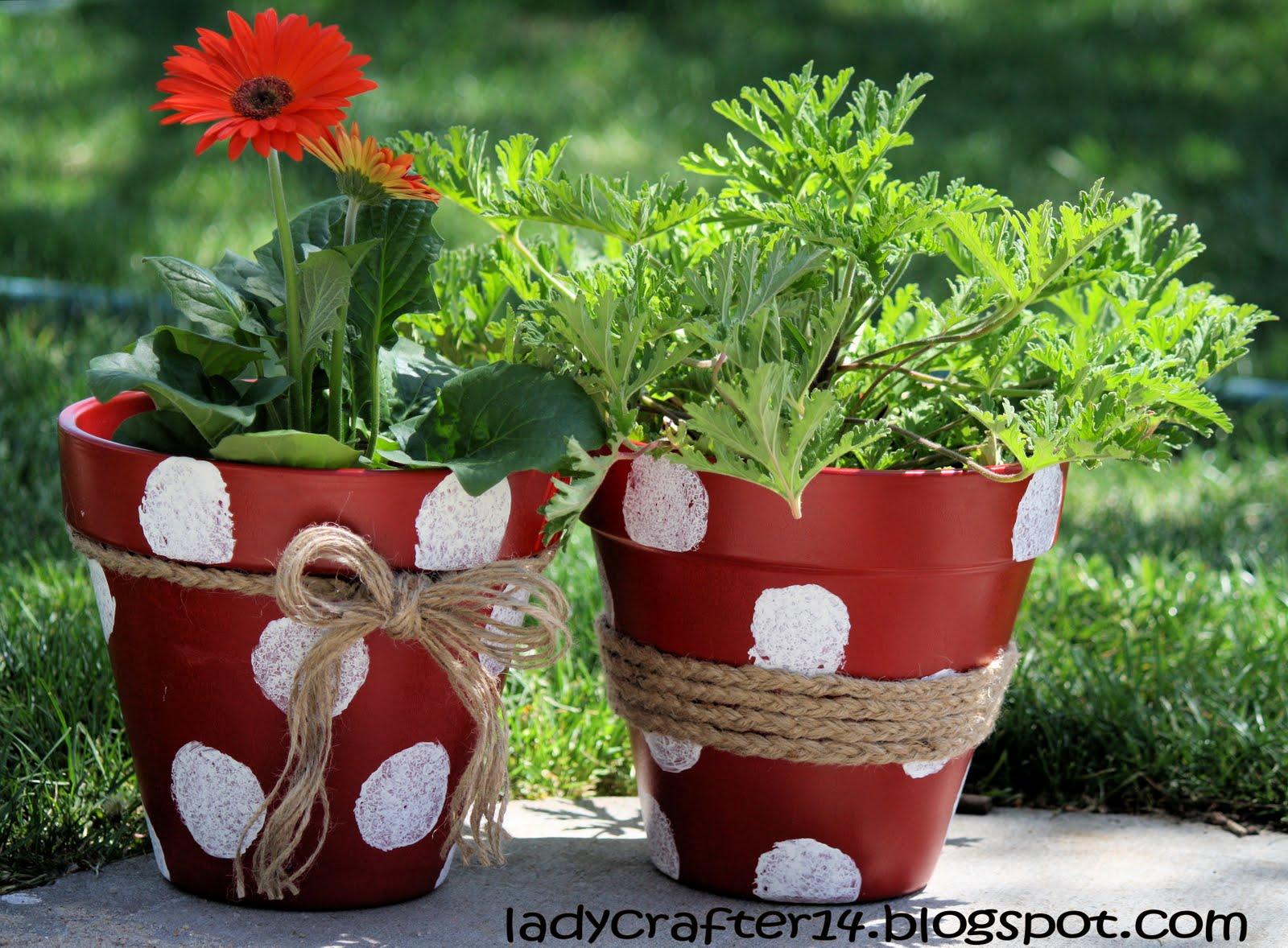 ladybugs crafts and 14???: diy groovy flower polka dot pots