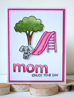 Mother's Day Card by Jess Crafts with Distress Markers and Lawn Fawn Let's Play