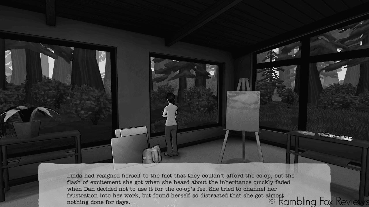 The Novelist game review rambling fox reviews Linda looking at window