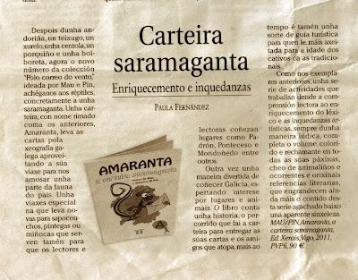 Amaranta, a carteira saramaganta. Polo Correo do Vento.