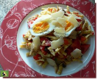 Vie quotidienne de FLaure : Salade de spätzle aux maquereaux et légumes