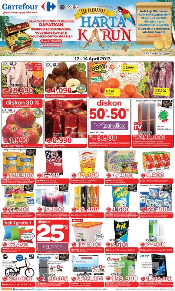 Daftar Katalog Harga Barang Carrefour Promo 12-14 April 2013