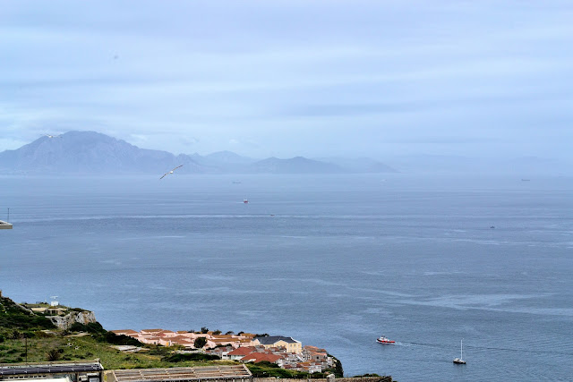 Looking across the Strait of Gibraltar to Jebel Musa in Morocco.