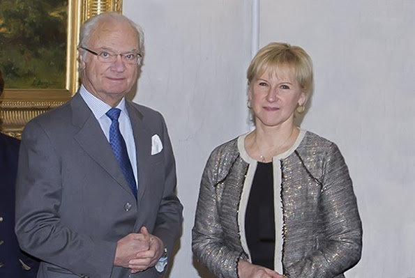 King Carl XVI Gustaf and Queen Silvia of Sweden, Crown Princess Victoria and Prince Daniel of Sweden met with Margot Wallström of the Minister for Foreign Affairs at the Royal Palace of Stockholm