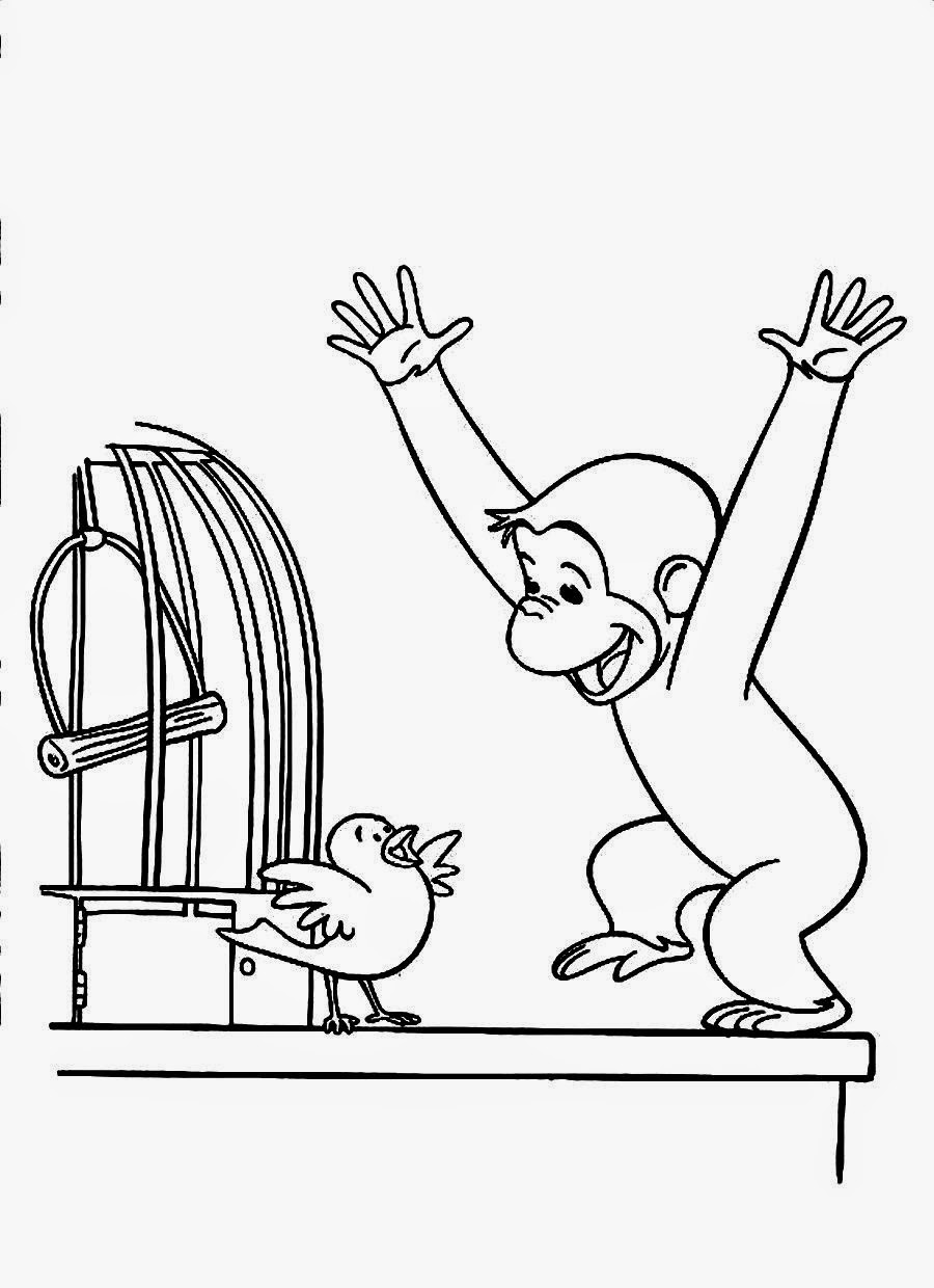 curious george play with bird coloring pages