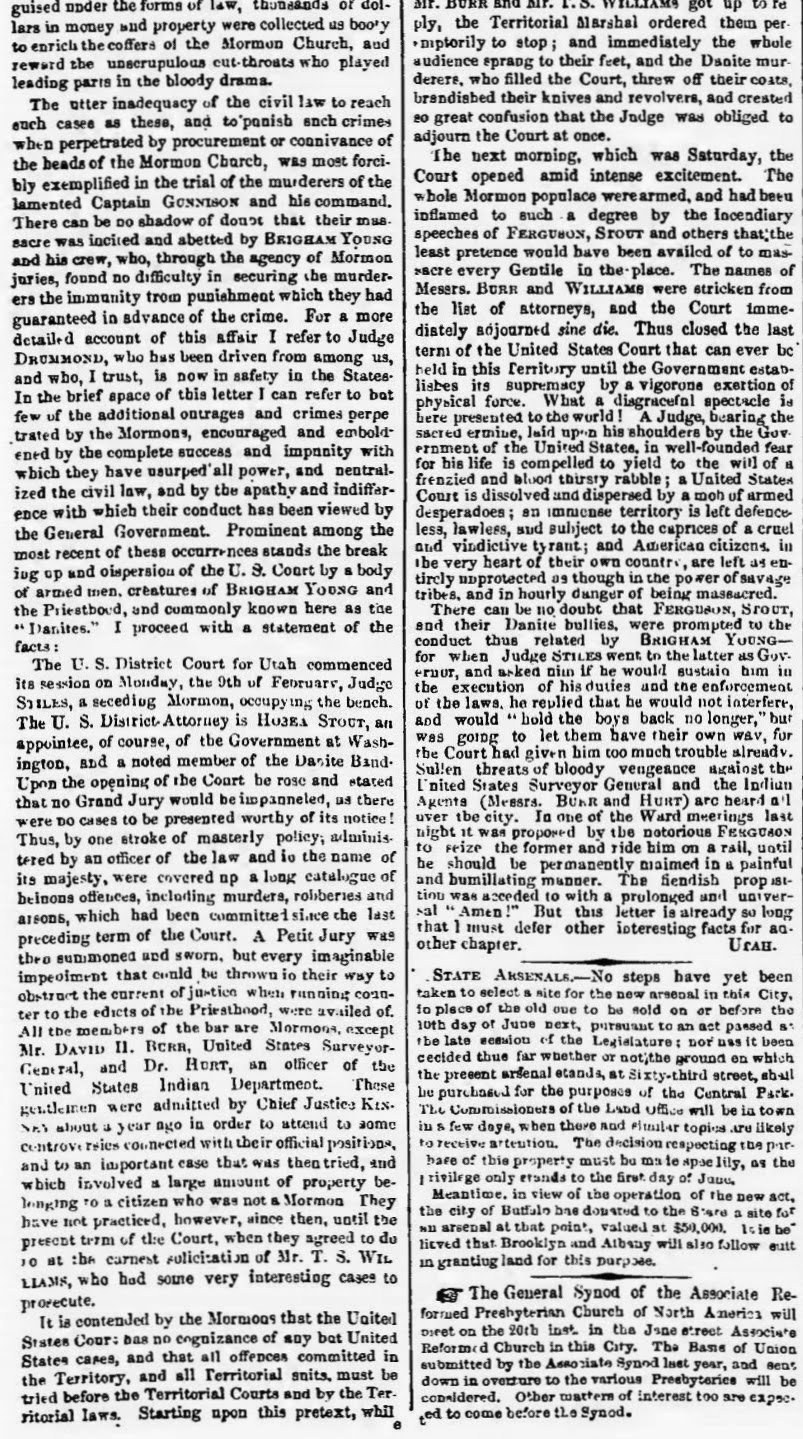may 18 1857 albany ny evening journal squatter sovereignty at salt lake