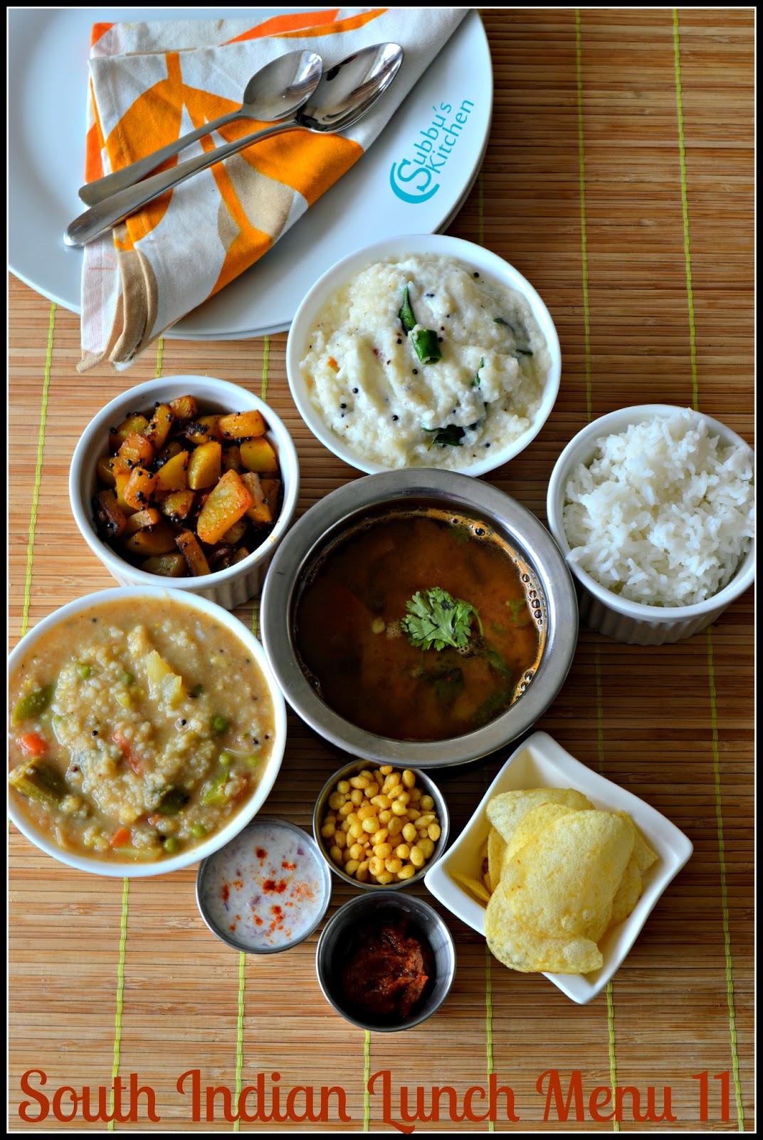 South Indian Lunch Menu 12 - Bisibelabath, Kalyana Rasam, Potato stir-fry and Onion Raitha