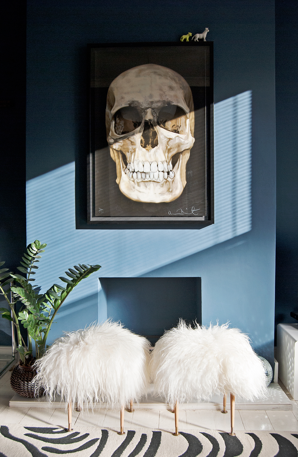 Navy blue walls with skull print - French For Pineapple Blog