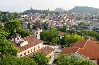 view Plovdiv from Eumolpia ruins, Bulgaria