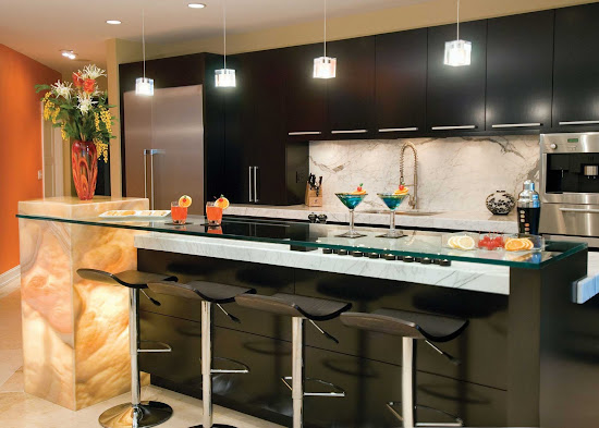 kitchen with bar and contemporary lighting