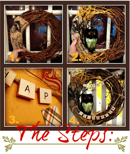 4 Steps to make a Spooky Rustic Halloween Owl Wreath by The Patchwork Paisley