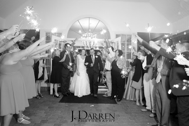 the sparkler exit at a Bermuda Run Counrty Club Wedding in Bermuda Run North Carolina