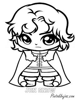 Jon Snow para colorear tipo anime