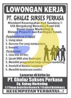 Lowongan Kerja Lampung PT. Ghalaz Sukses Perkasa, Sabtu 29 Agustus 2015