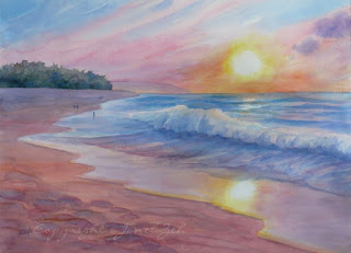 Sunset Beach custom Watercolor Painting