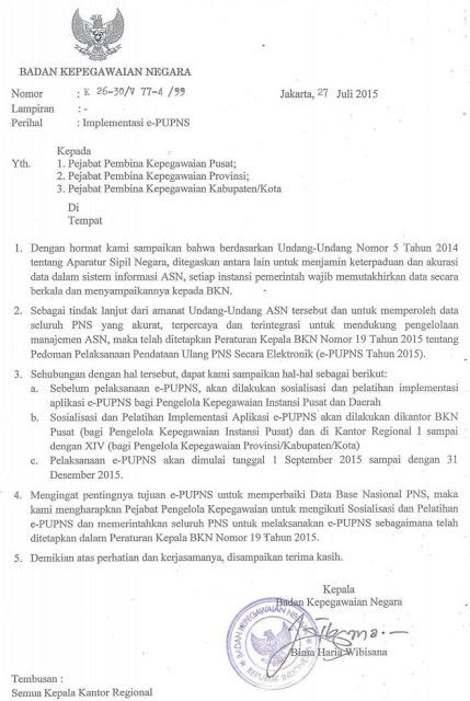 Surat Edaran Resmi BKN Tentang Implementasi E-PUPNS Tahun 2015