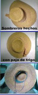 Sombreros artesanales con paja de trigo.