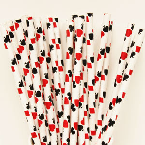Casino Playing Cards Paper Straws