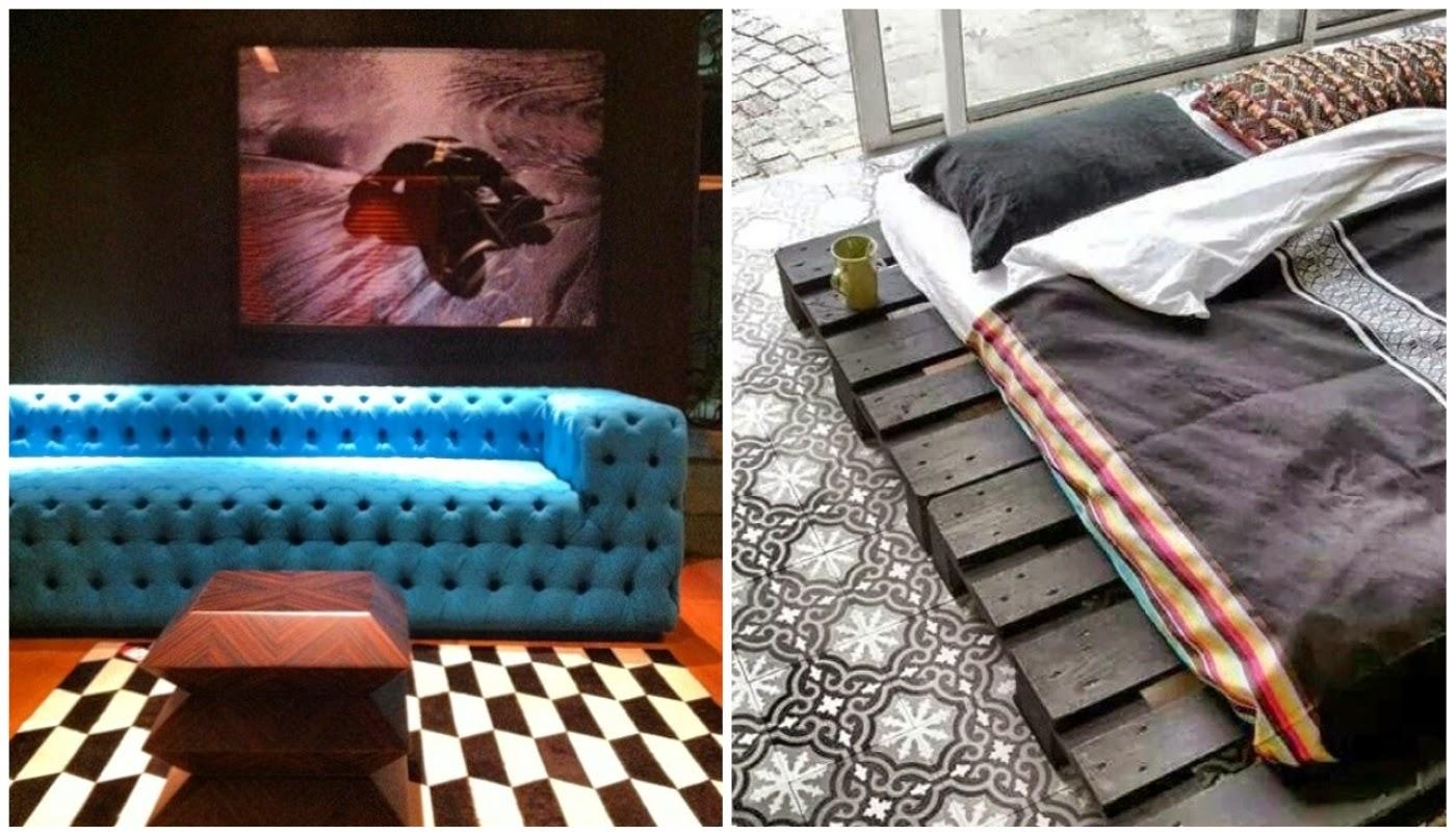 sofá azul @revistacasaclaudia e paletes como base para cama @etxekodeco