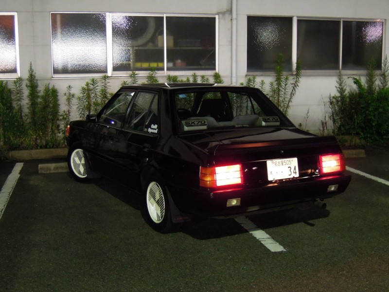 Mitsubishi Lancer EX, tył, tail lights, black, japoński sedan z lat 80, napęd na tył, silnik turbo, zdjęcia, JDM
