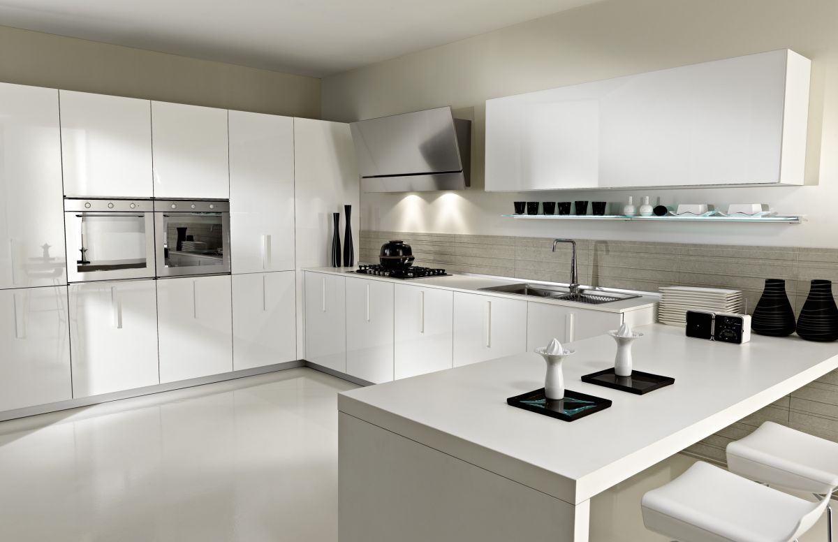 contemporary kitchen design in white