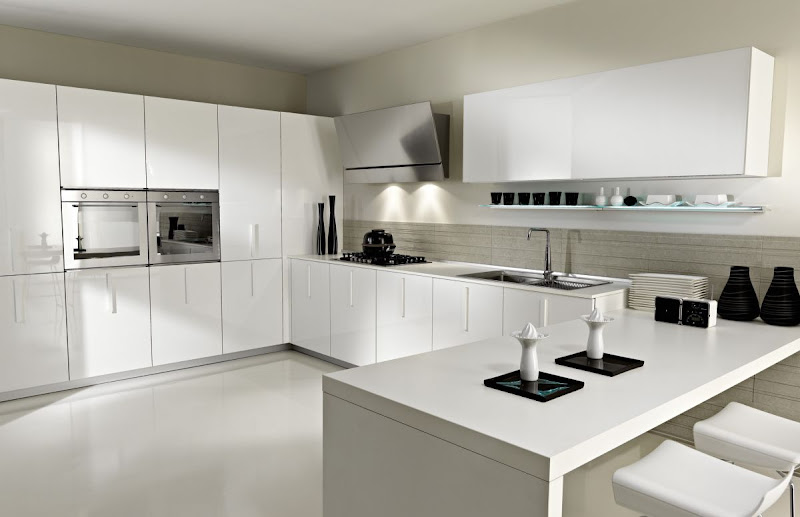 contemporary kitchen design in white title=