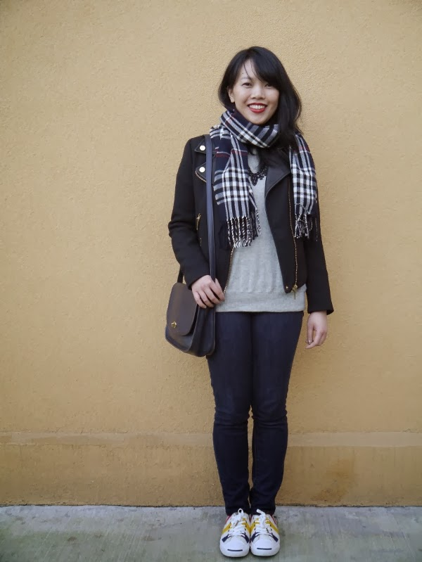 Casual look with moto jacket, jeans, plaid scarf, and sneakers