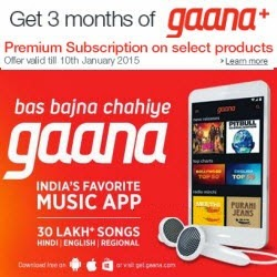 Free 3 Month Gaana+ Subscription with Selected products at Amazon