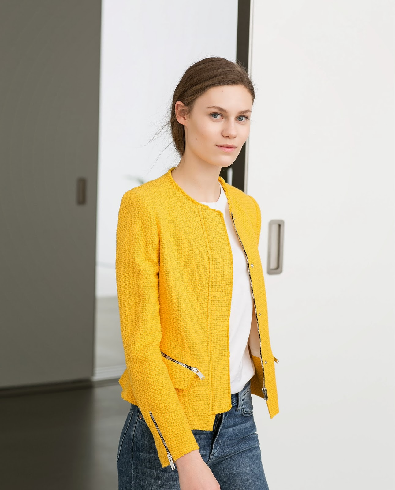 zara yellow jacket
