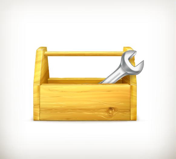 Wood toolbox clipart
