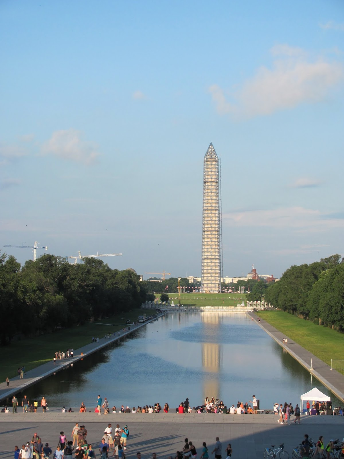 Washington Monument seen reflecting on the reflecting pool in Washington, DC