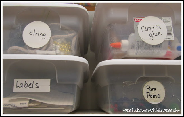 photo of: Bins for Random Supplies (Organizational RoundUP via RainbowsWIthinReach)