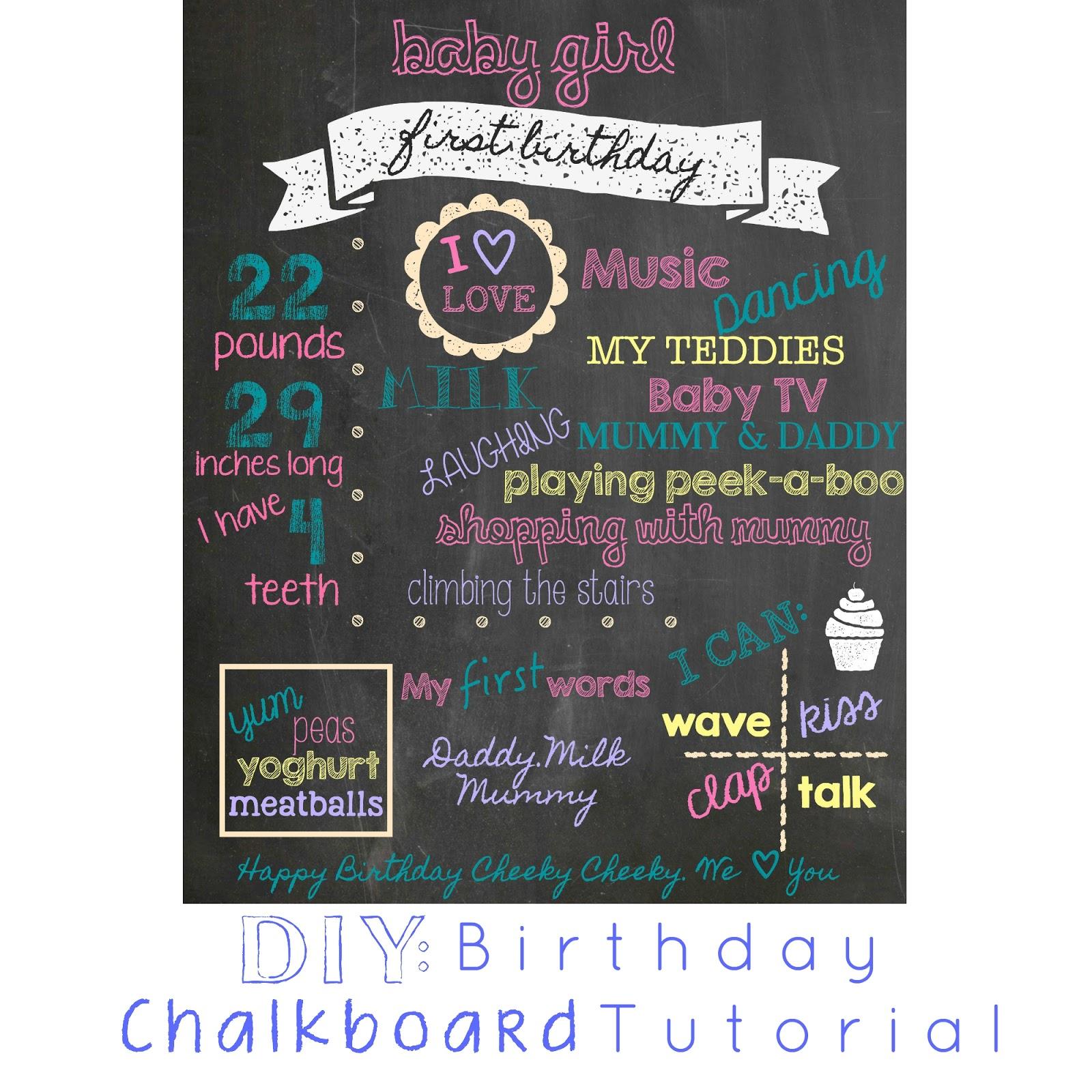 DIY Birthday Chalkboard Tutorial Eat Love Live