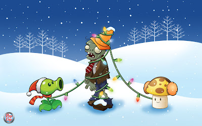 zombie, plant, wallpaper, mushroom, snow, christmas