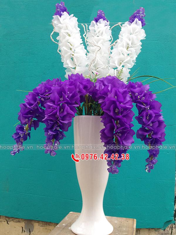 Hoa pha lê hoa phi yến màu tím trắng